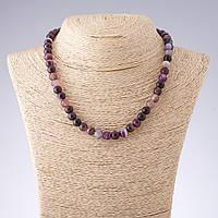 Бусы Агат фиолетовые тона гладкий шарик   d-8мм L-44см