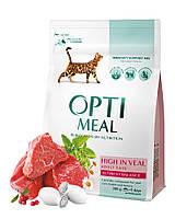 Сухой корм Optimeal для  взрослых кошек с высоким содержанием телятины, 0,3кг
