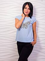 Женская однотонная футболка со стразами, цвета в ассортименте