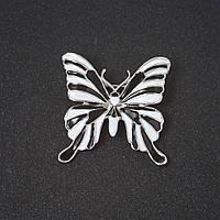 """Брошь Бабочка белая и черная эмаль цвет металла """"серебро"""" 3,5см"""