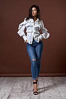 Женская рубашка с рюшами. Цвет белый. Код модели Б-21-45-17.