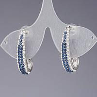"""Серьги Сапфировая дорожка  с синими и белыми стразами цвет """"серебро"""" L-3,5см"""