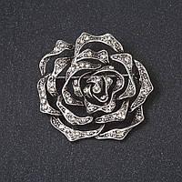 """Брошь """"Кованная  роза"""" цвет металла """"старинное серебро"""" 4 см"""