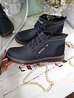 Зимние ботинки мужские темносиние классика  натуральная кожа и мех