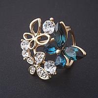 """Брошь держатель для косынок Бабочки синие кристаллы цвет металла """"золото"""" 3 см"""