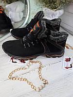 Зимние кожаные ботинки ECCO мужские (черные)