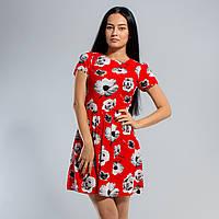 Красное платье в маках, короткий рукав 38-52 размеры