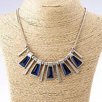 Колье с синими кристаллами пять трапеций  матовый серебристый металл 45-50см