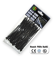 Стяжки кабельные пластиковые чёрные UV Black 3,6*300мм (100шт)