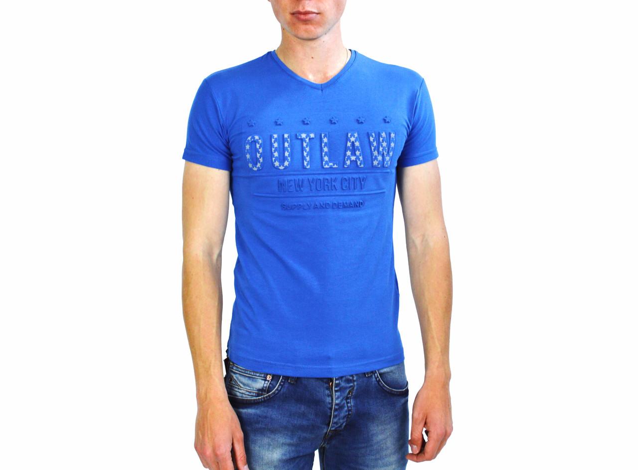 Мужская футболка голубого цвета с надписями THIERRY NERRY на лето