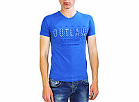 Мужская футболка голубого цвета с надписями THIERRY NERRY на лето, фото 1