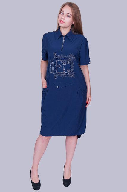 d7d7dcb7742 Модное женское платье-рубашка тёмно-синего цвета с 54 по 60 размер ...