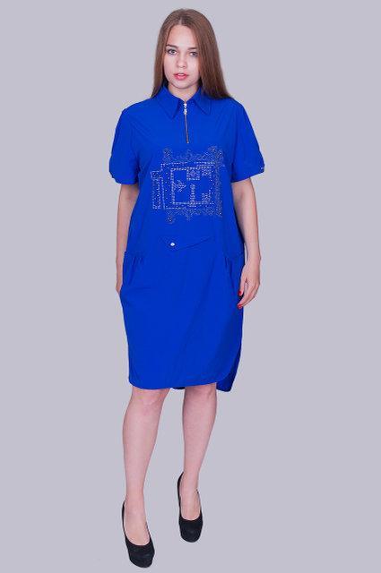 abef4eb94a6 Модное женское платье-рубашка прямого силуэта синего цвета с 54 по 60 размер