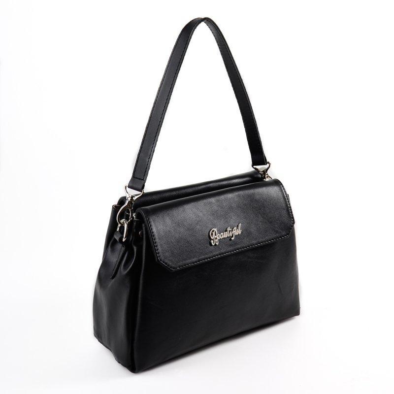 c878ddd68dd3 Кожаная женская сумка М127 небольшая через плечо черная матовая - Интернет  магазин сумок SUMKOFF - женские