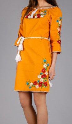 Нарядное вышитое платье из натурального полотна