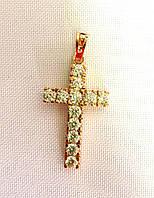Кулон ХР крестик с камнями, позолота