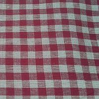 Льняная скатертная ткань, в бордовую клетку, Italian pizzeria , фото 1