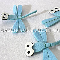 Заготовка из фетра (высечка,вырубка) Стекоза голубая Размер 7 х 8 см