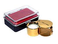 Лупа d=21mm 10х золото овальная (F-03)