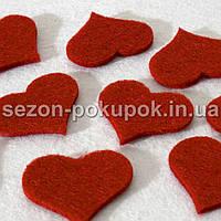 Заготовка из фетра (высечка,вырубка) Сердечко маленькое  Размер 3 х 3,5 см