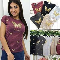 Женская футболка расшита бусинками, 2 цветаЖенская классная футболка усыпана блестками,в расцветках