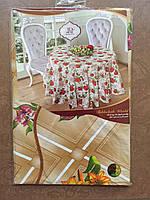 Скатерть кухонная Волна с цветами диаметр 152 см