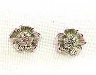Серьги-гвоздики ХР, родий, цветочек
