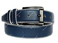 Мужской ремень синего цвета с белой строчкой (П-058)