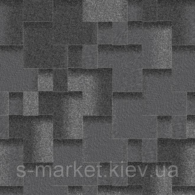 Битумная черепица Акваизол коллекция «Акцент» Маренго (чёрный + чёрно–синий + темно-серый)!