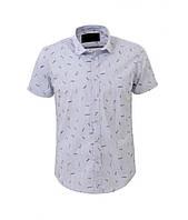 Рубашка мужская короткий рукав белая в полоску (M-XXL)