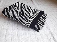 """Полотенце пл 420 махровое жаккардовое плотное Индия """"Zebra"""" 50х90 черно-белое"""
