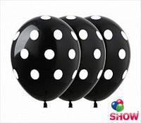 Воздушный шар в горошек 30 см черный