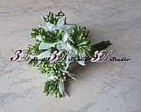 Добавка тычинка зеленая блеск+белый листик