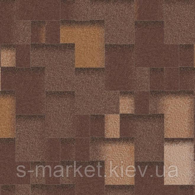 Бітумна черепиця Акваізол колекція «Акцент» Гарячий шоколад (коричневий + антик + чорний + сірий)