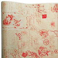 "Подарочная бумага ретро ""Ангелы, марки""(85) красные на крафте"