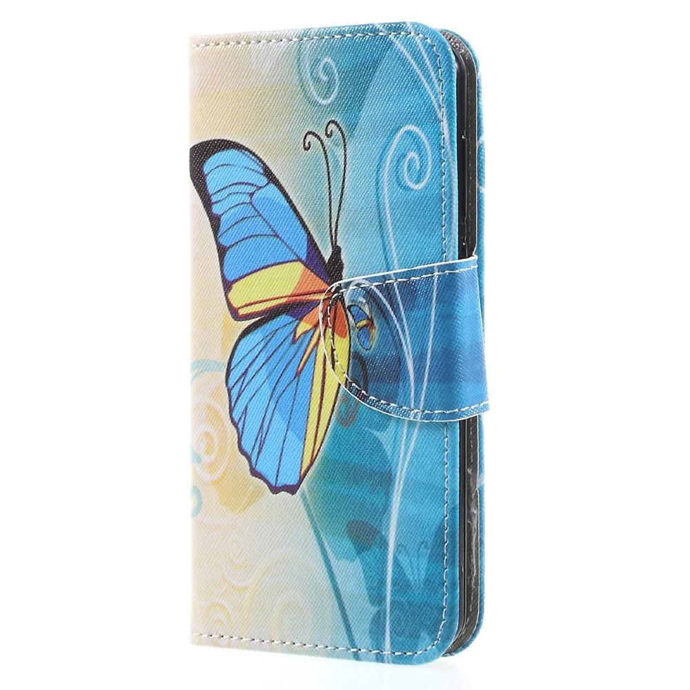 Чехол книжка для Huawei Y5 2017 боковой с отсеком для визиток, Желто-голубая бабочка