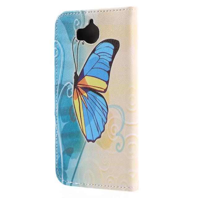 чехол книжка на Huawei Y5 2017 с желто-голубой бабочкой