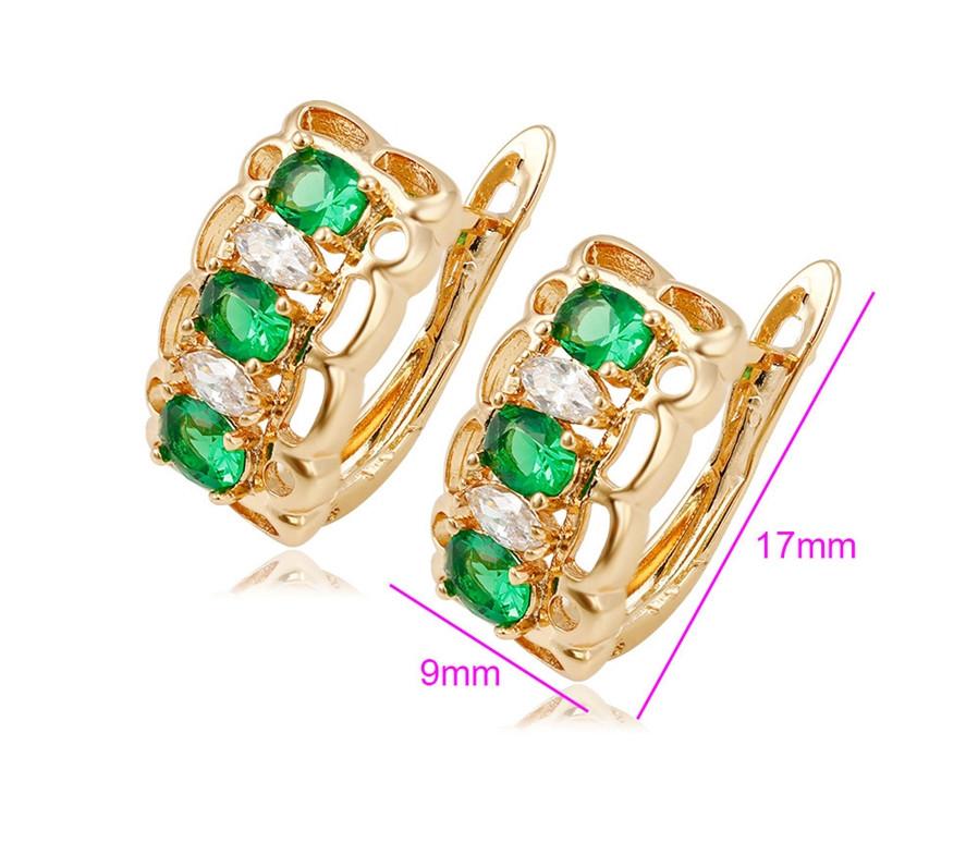 Серьги позолоченные,Три овальных зеленых циркония