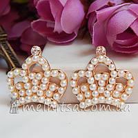 Клеевой декор Корона с жемчужинками, 23 мм