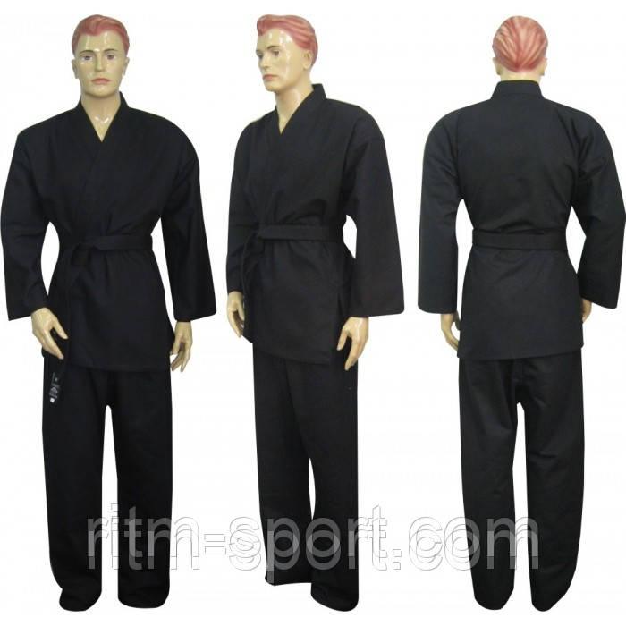 Кимоно для карате черное (размер от 130 см до 200 см, плотность 240 г/м2)
