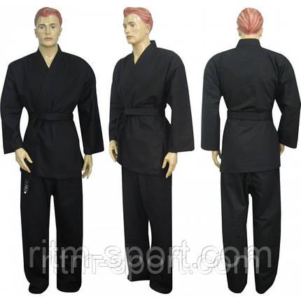 Кимоно для карате черное (размер от 130 см до 200 см, плотность 240 г/м2), фото 2