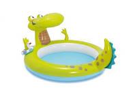 Надувной детский бассейн Крокодил с разбрызгивателем Интекс