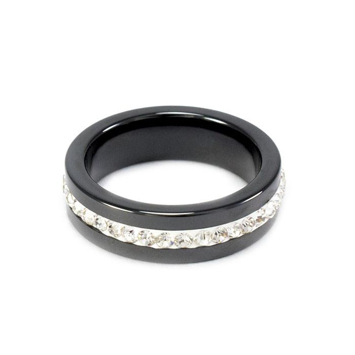 Кольцо керамическое с фианитами по кругу черное Арт. RN005CR (16)