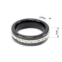 Кольцо керамическое с фианитами по кругу черное Арт. RN005CR (16), фото 4