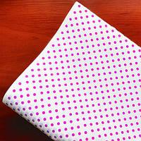 """Подарочная бумага ретро (177) """"Горохи"""" розовые на белом"""