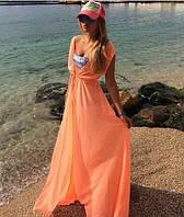 Женская Оранжевая Длинная Шифоновая Пляжная Туника-Накидка, фото 1