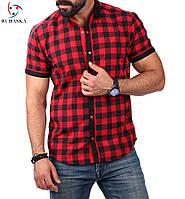 Мужская рубашка с коротким рукавом в клетку