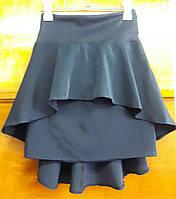 Юбка детская школьная, темно-синяя  с хвостом  р. 122-140