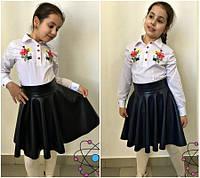 Школьная юбка из эко-кожи №614-0 (р.122-140)