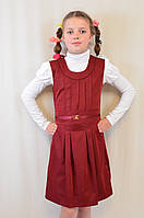 Детский школьный бордовый сарафан на девочку
